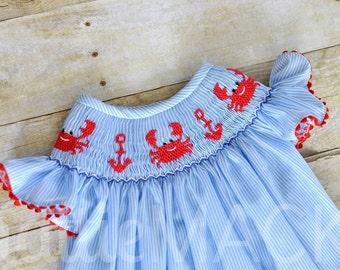 Hand Smocked Crab and Anchor Bishop Dress