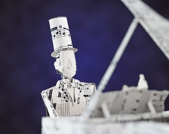 "Paper sculpture Fineart Postcard ""Piano"" n-3"