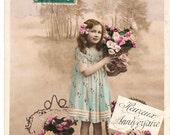 Vintage Romantique Little Girl postcard  .