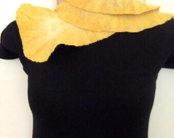 Sunny Yellow Nuno Felted Scarflette Collar Merino Wool Silk