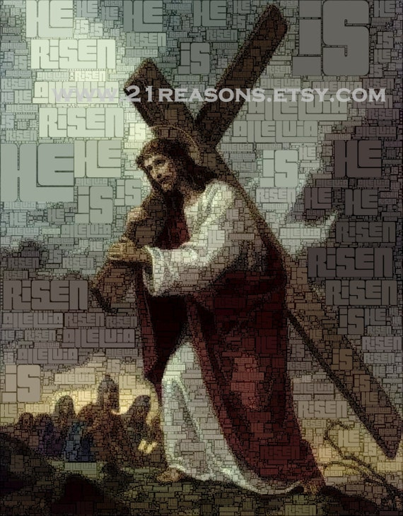 Printable Word Art - Jesus Carrying Cross to Calvary - 3 sizes PDFs and 1 high-quality resizable JPEG