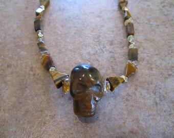 Tigers Eye Crystal Skull Necklace