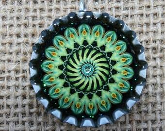 BOTTLE CAPS-Mandala- Green and Black