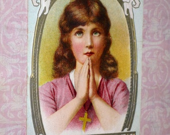 Antique Wishing You A Joyous Easter Young Girl Praying Postcard