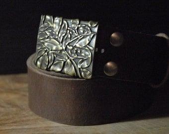 Tree Leather Belt - Belt Buckle Brass Leaves - COLOR SIZE