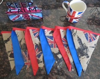 British Flag Bunting - Burlap and fabric banner