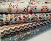 Quilting Fabric ,Perched Owls, Leaf Garland, Charcoal Chevron, Blue Hoot Dot, Half yard bundle