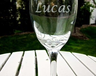 Etched Wine Glass- One Name/Word