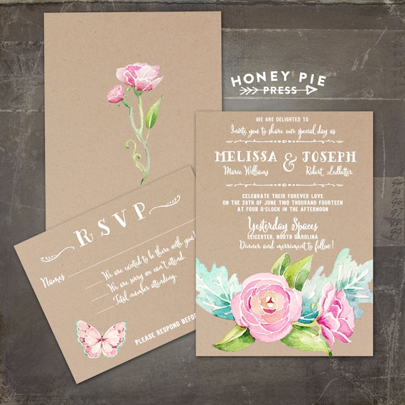 Watercolor Floral Peony Kraft Paper Styled Wedding Invitation Set Rustic Country Chic Suite