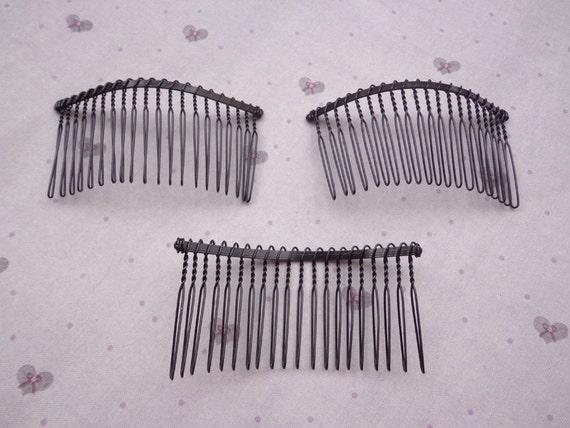 Nickel free 50 pcs black metal hair combs 20teeth for Metal hair combs for crafts