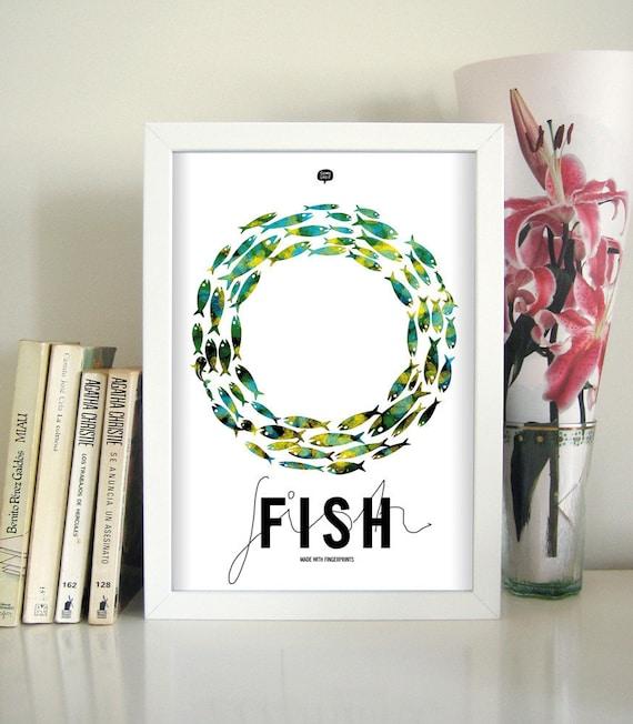 Wall art decor.  Picture fish. Fingerprint. Printable art. Digital print. Illustration. Instant digital download