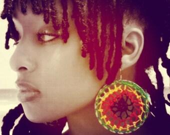 Kinky Reggae Crochet Hoop Earrings