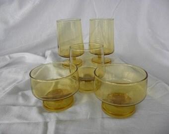 Topaz Honey Amber Colored Stemware 1960-1970