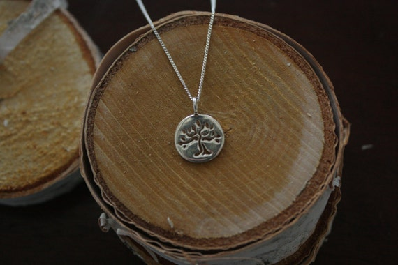 Recycled Sterling Silver Tree of Life Necklace Made in NYC -16""