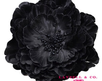 Black  5 Inch Peony silk flower head