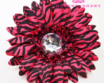 Hot  Pink Zebra Daisy Crystal Flower 4 in of 16 flowers