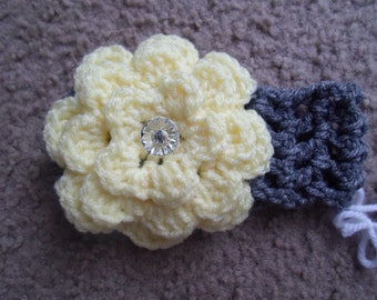 Dark Gray w/ Light Yellow Flower w/ Crystal Button Headband, Available in Sizes from Newborn-Toddler.