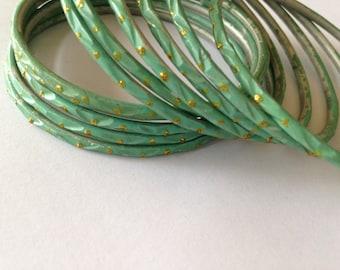 Mint Green Indian Vintage Metal Bangles Bracelet with golden glitter, Summer Accessory, Green Textured Bangles, Set of 5
