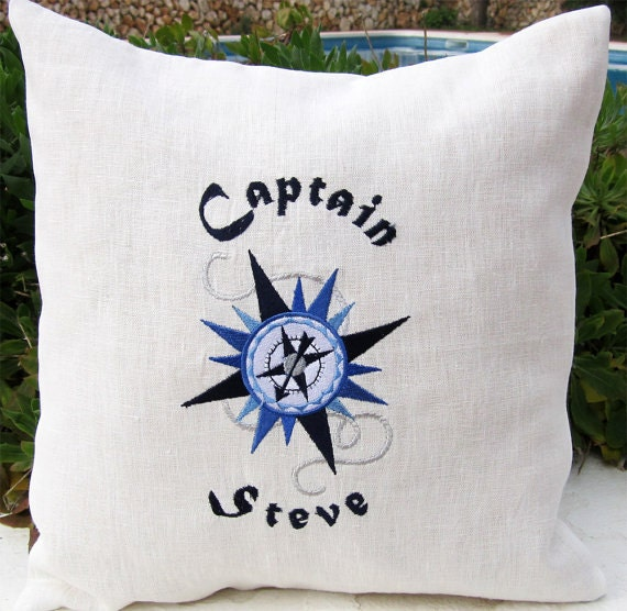 Personalized Embroidered Throw Accent nautical Pillow Cover