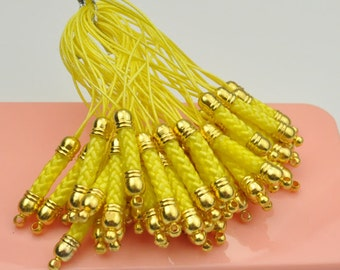 Lemon Cell Phone Strap Lanyard with Golden Tone Metal,Qty: 50 pcs.