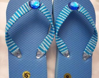 Girl's Small Blue Ribbon and Rhinestone Flip Flops
