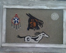 Native American Rug art in distressed old wood frame