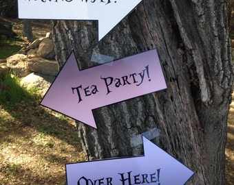 Alice in Wonderland  / Mad Hatter Tea Party decorations:  Arrows - printable digital file