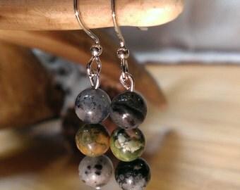 Rhyolite & Spotted Sodalite Stone Earrings