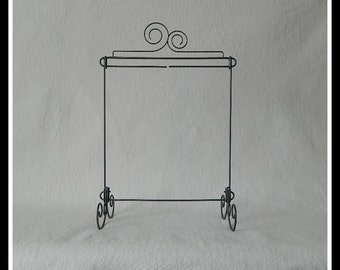 Double Curl Table Stand ~ Dark Copper, Charcoal Black or Gray  Wire ~ 12 x 14 Inches ~ Made in the USA