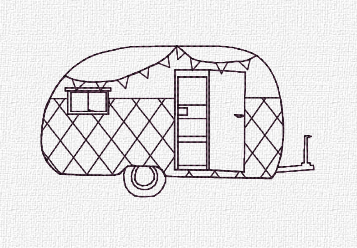 Creative RV Camper Applique Embroidery Design  Instant Download