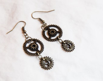 Steampunk Miniature Gear Earrings- Brass, Silver, and Copper
