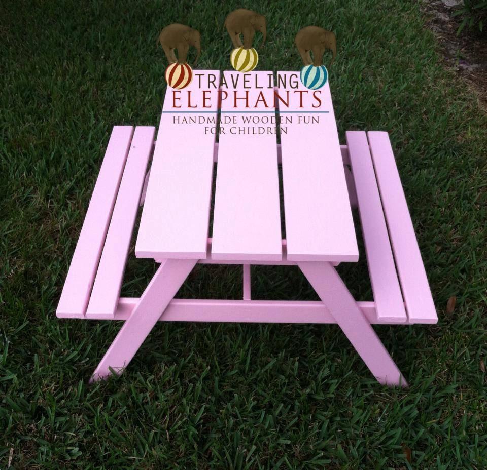 toddler picnic table indoor or outdoor kids by travelingelephants. Black Bedroom Furniture Sets. Home Design Ideas
