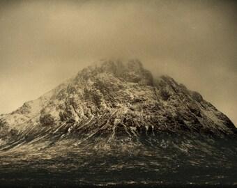 Buachaille Etive Mòr, original fine art photography, print, landscape, highland, nature, 8x12,  mountain, snow, scotland, vintage, sepia
