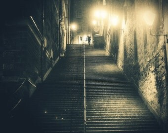 Edinburgh Old Town, original fine art photography, print, night, monochrome, sepia, light, scotland, square, city, urban, damaged, steps,man