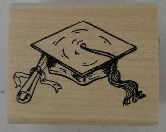 Graduation Cap & Scroll Rubber Stamp - 99M03