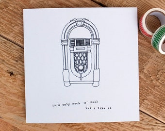 Birthday Card For Music Lovers; Birthday Card For Dad; Card For Him; Card For Musicians; Rock 'n' Roll Card; GC012