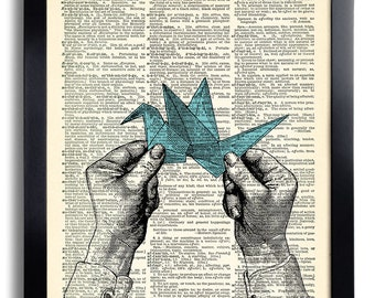 Origami Hand Art Print Vintage Book Print Recycled Vintage Dictionary Page Collage Repurposed Book Upcycled Dictionary 160