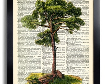 Tree Green Nature Art Print Vintage Book Print Recycled Vintage Dictionary Page Collage Repurposed Book Upcycled Dictionary 219