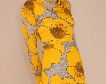 70's Vintage Japanese Yellow Bloom Dress