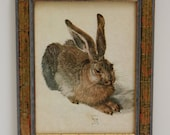 Small Vintage Framed Art Print, Young Hare by German Artist Albrecht Durer, Marked Made in Germany