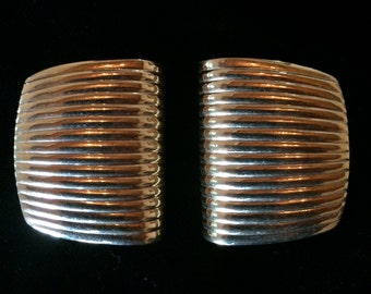 Signed Napier Gold Earrings / 80s / Pierced Ears / Designer Costume Jewelry