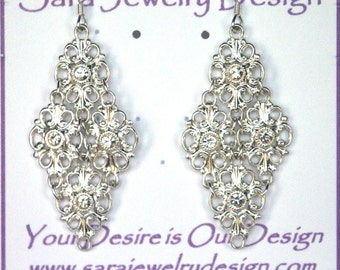 Clear Crystal Swarovski Component Earrings in Silver-plated Chainmaille Links