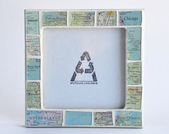 Anniversary Gift for Parents Custom Map Personalized Atlas Picture Frame