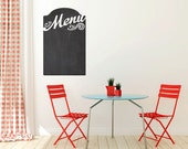 Menu Chalkboard Vinyl Wall Decal size LARGE – Kitchen Wall Decal, Chalkboard Menu, Chalkboard Wall Decal, Chalkboard Decals.