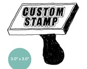 "CUSTOM Rubber Stamp - 3"" x 3"" - Logo, Business, Promotion Stamp 3x3"