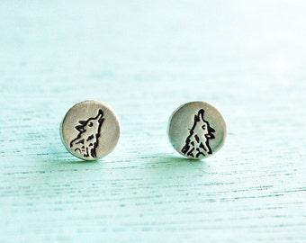 WOLF Earrings by boygirlparty - Sterling Silver Wolf Stud Earrings cute Jewelry - Tiny Animal Earrings