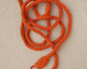 Knitted Power Cord - Orange Necklace - Geek Toy - Skinny Scarf - Belt - Geekery