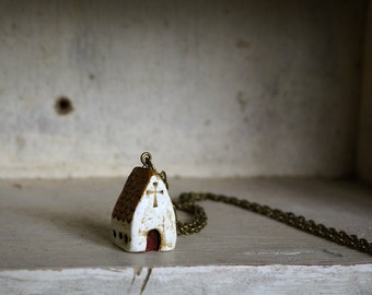 Miniature Irish Church Pendant Hand Painted Paper Clay -- Handmade in Ireland