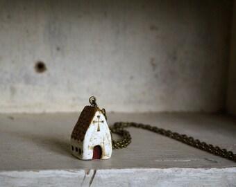 Miniature Irish Church Pendant Hand Painted Paper Clay -- Handmade in Ireland