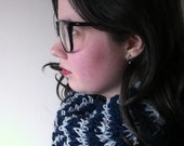 Striped cowl - navy and pale blue wool and alpaca - warm winter accessories
